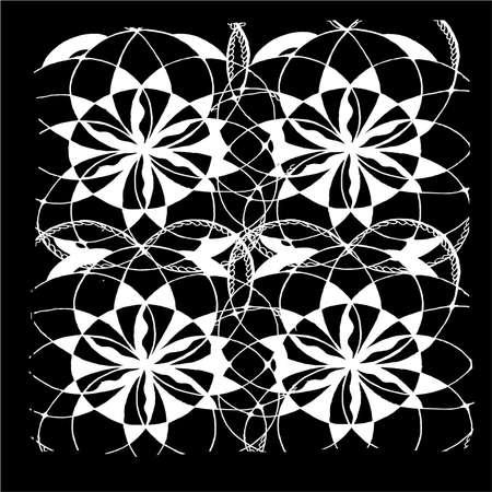 Black-white pattern of mandala flower. Background. Ilustración de vector