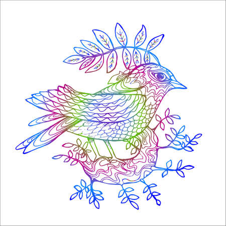 IIlustration of a bird on a tree branch. Beautiful bird.