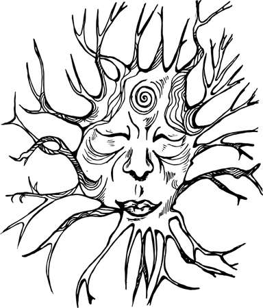 Black and white picture of the spirit of the forest. Face with eyes closed and roots. Illustration
