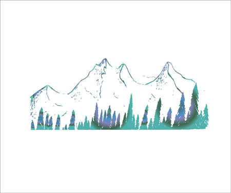Neon illustration of mountains and trees. Tattoo idea. Vektorgrafik