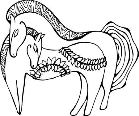 Illustration of two horses with fern branches in Scythian style. Ilustração