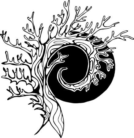 Illustration of a tree that spirals in the background of the sun.