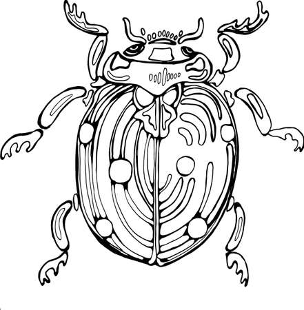 Ladybug illustration. The idea for a tattoo with a cosmic bug.