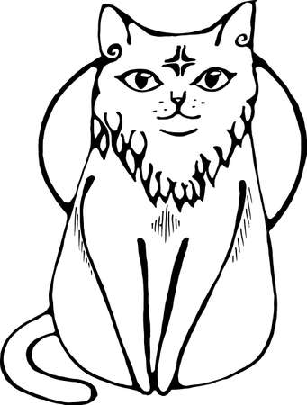 Illustration of a cat that sits calmly with a star in the forehead and the white moon on the background.