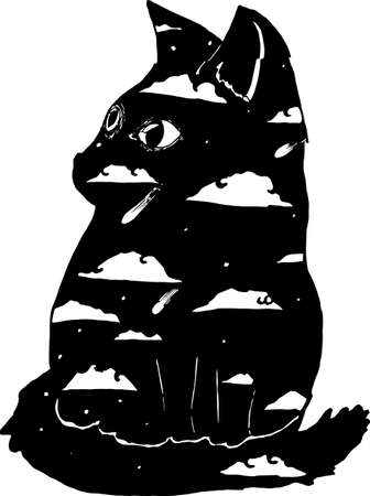 Double exposure cat silhouette illustration. Night sky and a cat. Ilustracja