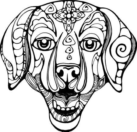 Thai dog head illustration. Ornamental god of dogs. Illustration