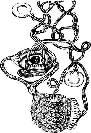 Black white picture of a psychedelic motif. Eye, jaw, Turtle armor, seeds.