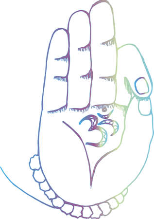 The arm of the shiva with ohm. Gradient illustration of hands and rudraksh
