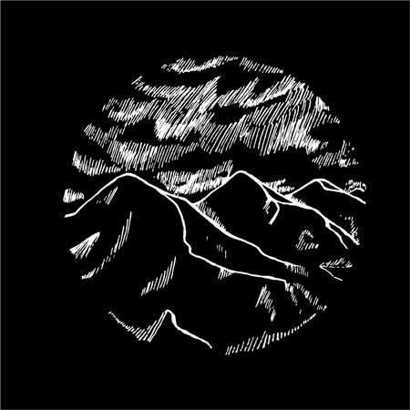 Black and white picture of mountains is in a circle. Beautiful clouds and mountains.