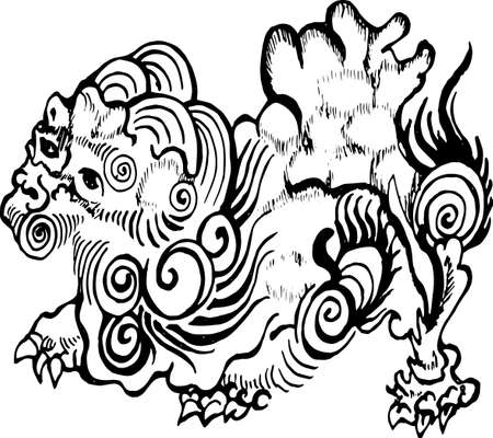 Illustration of chinese qilin. Chinese lion dragon. Vettoriali