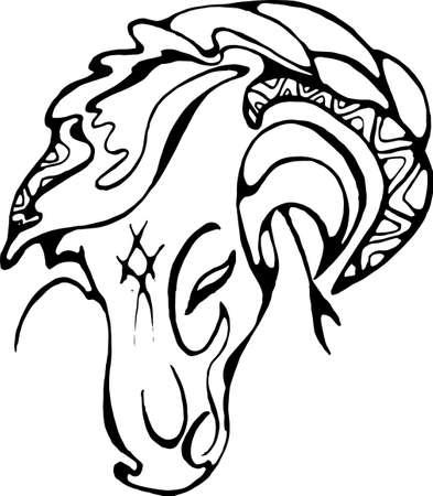 Ilustración de cabeza de caballo. Motivo de gracia y belleza.
