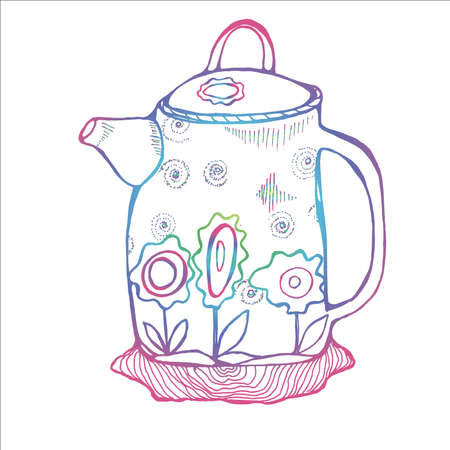 Neon illustration of a retro minimalist style teapot decorated with flowers.