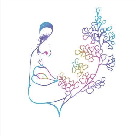 Neon illustration of a profile of a girl with double exposure, ginkgo biloba as an extension of her face. Abstraction.
