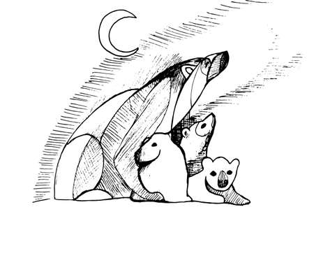 Illustration with a family of bears that look at the northern lights. Family theme. Illustration