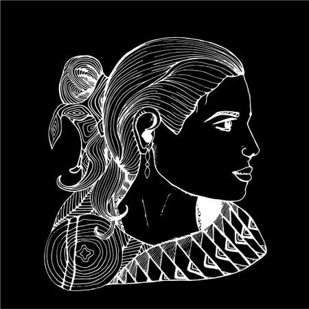 Girl in profile in Indian clothes. Black and white drawing.