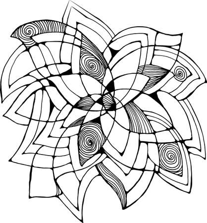 Black-white drawing of a flower. Abstract art for decoration. Ilustrace