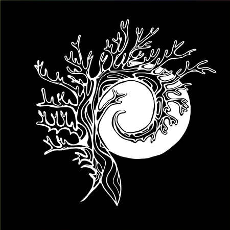 Illustration of a tree that spirals in the background of the sun or moon.