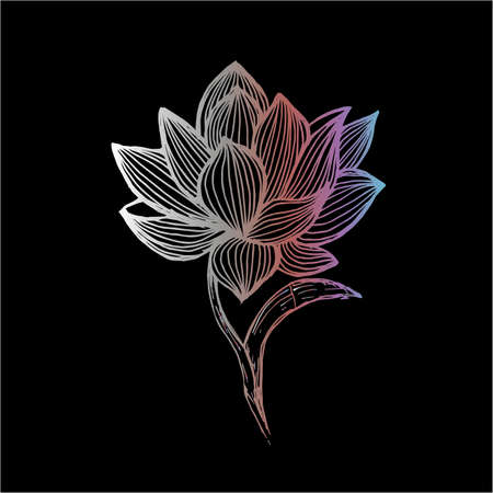 Lotus illustration made by freehand lines. Tattoo idea. Ilustrace