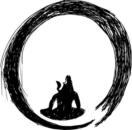 Black and white picture of shiva in a circle of zen. Tattoo idea.