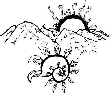 Black-white illustration of the mountains, the sun, the branches of a plant in a pattern.