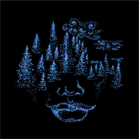 Neon picture of the face of the spirit. Trees and clouds on the face.