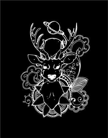 Illustration of a deer on a background of planets, mehendi patterns. Conscious gaze
