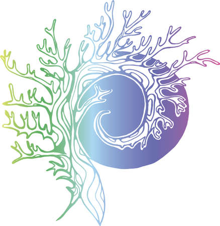 Color illustration of a tree that spirals in the background of the sun or moon.