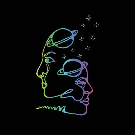 Neonillustration von Weltraummann und -frau. In einem einzigen Tanz des Lebens Ornamente. Vektorgrafik