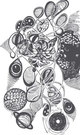 Black and white picture of psychedelic travel, Eyes, planets, patterns, waves.
