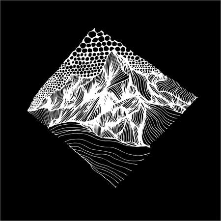 Psychedellic illustration with mountains drawn by lines and sky drawn by circles. An idea for a tattoo. Ilustração