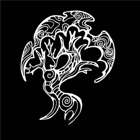 Illustration of a bud walking tree on the roots. Tree of life with ornament.