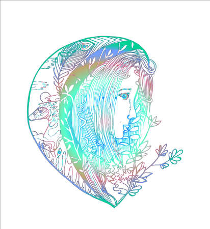 Neon stylized girl with ornament and plant motifs.