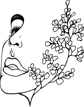 Illustration of a profile of a girl with double exposure, ginkgo biloba as an extension of her face.