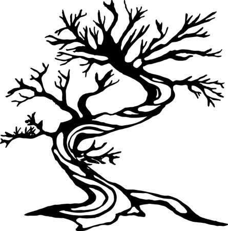 Illustration of a running tree with a spiral ornament. The roots like a legs.