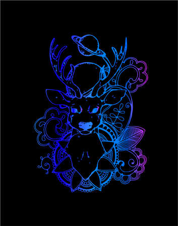 Gradient picture of a deer on a background of planets, mehendi patterns. Conscious gaze Foto de archivo - 139815334