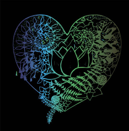 Color picture of the heart, in which the lotus, fern, cone, mountains, clouds, trees. Foto de archivo - 139815461