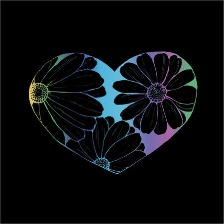 Gradient illustration of daisies painted in a heart. An idea for a tattoo.