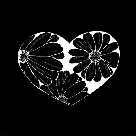 Illustration of daisies painted in a heart. An idea for a tattoo.