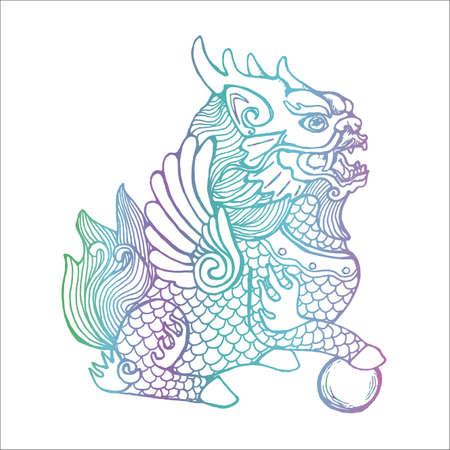 Neon illustration of cosmic cilin. Picture of a mythological creature 向量圖像