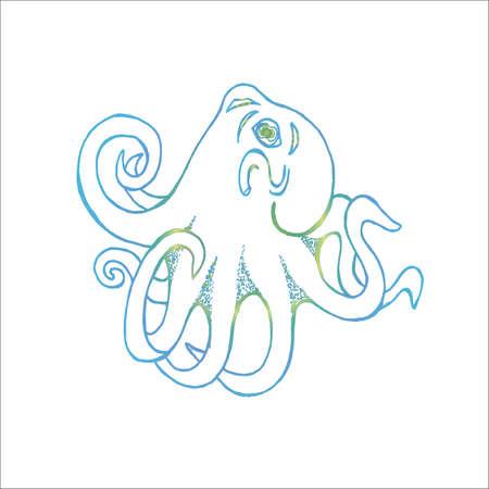 Neon illustration of an octopus. Tattoo idea