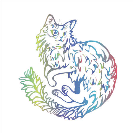 Neon illustration of a cat that lies on its side relaxed in a playful mood
