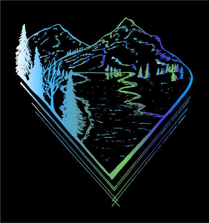 Neon picture of mountain landscape, trees, river going away to distance.