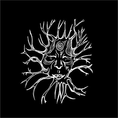 Black and white illustration of the spirit of the forest. Face with eyes closed and roots.