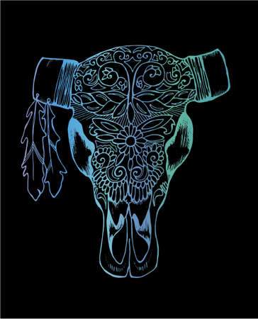 Neon illustration of a bull's skull. Decorated cow's head