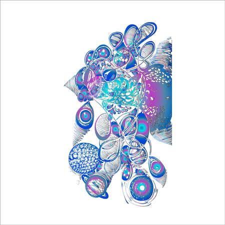 Neon illustration of psychedelic travel, Eyes, planets, patterns, waves. Vektoros illusztráció
