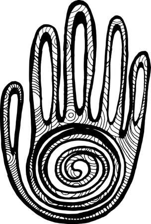 Illustration of the palm with spiral ornament. Graphic pattern. Ilustração