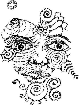 Black and white picture with the face of the Shamna, the spirit of the forest in the style of dotwork. Pattern, ornament.