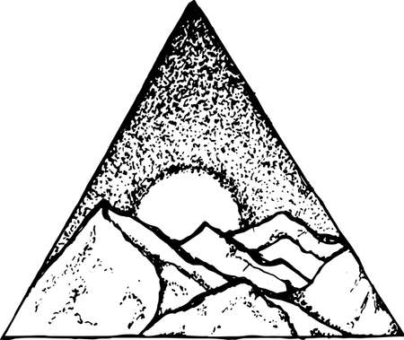 Illustration of mountains, moon and starry sky inscribed in a triangle.