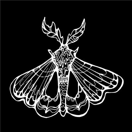 Illustration with butterfly, graphic style. Flying and inspiration. Иллюстрация