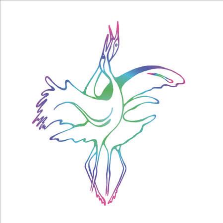 Neon illustration of a dance of grace storks. Idea for a bird tattoo. Иллюстрация